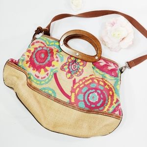 Fossil Wooden Handle Floral Woven Bag